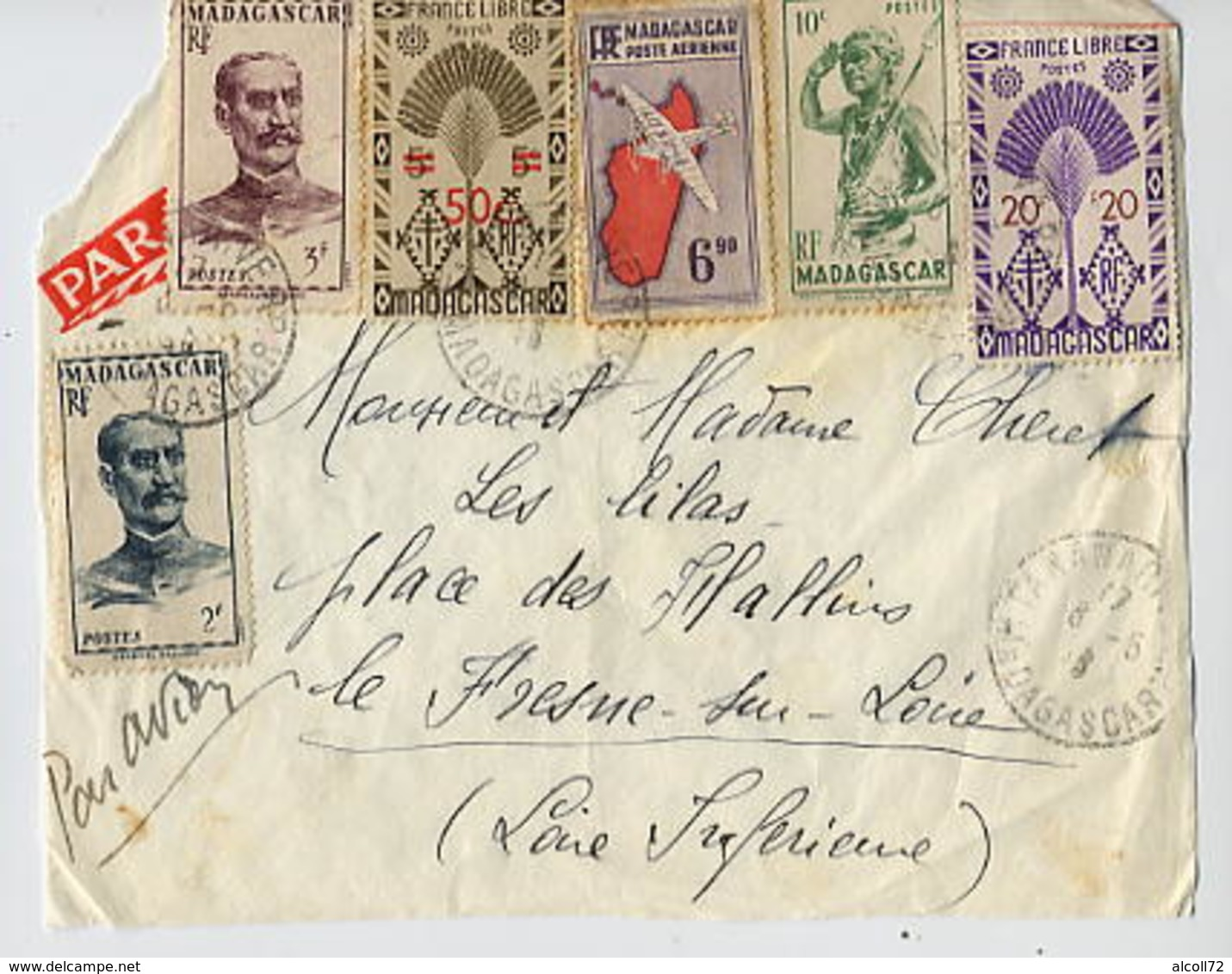 MADAGASCAR: Devant De Lettre Affranchissement Avec 6 Timbres: Galliéni, France Libre,aviation - Lettres & Documents