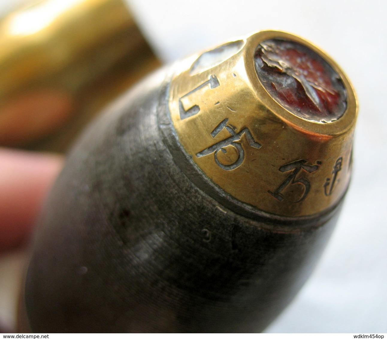 SUPERBE MILITAIRE ARMÉE - DOUILLE Avec OGIVE - 37 M/m  Octobre 1914 WW1 - INERTE - à Identifier Au Cas Ou ! - 1914-18