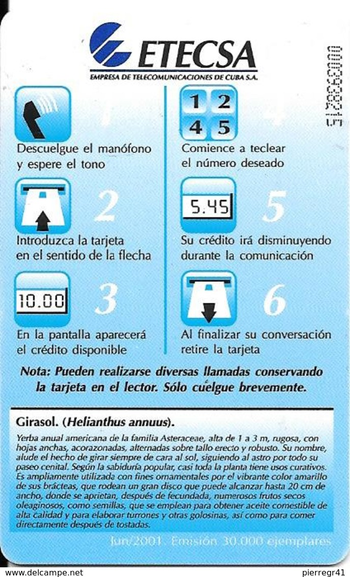 CARTE PUCE-CUBA-ETECSA--10USD -TOURNESOL/Girasol-R°Glacé-UTILISE-TBE-RARE - Fleurs