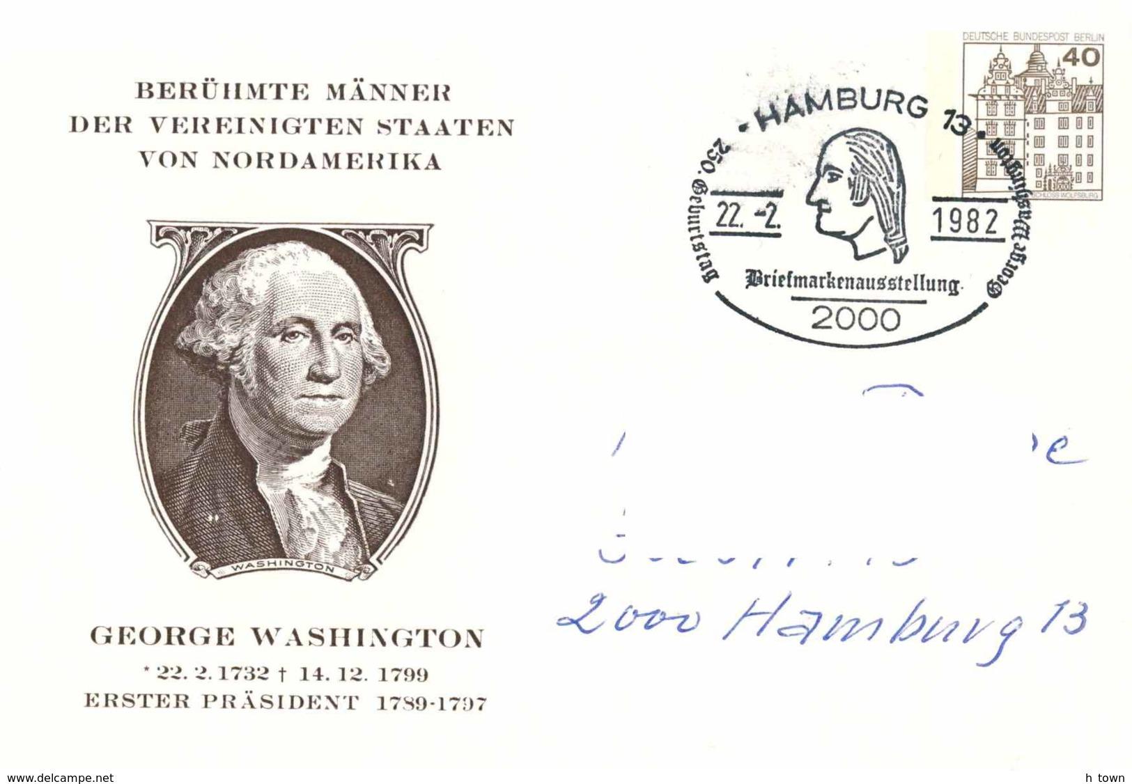 4219  George Washington: Entier (c.p.) D'Allemagne  -  Stationery Postcard From Germany. USA - Onafhankelijkheid USA