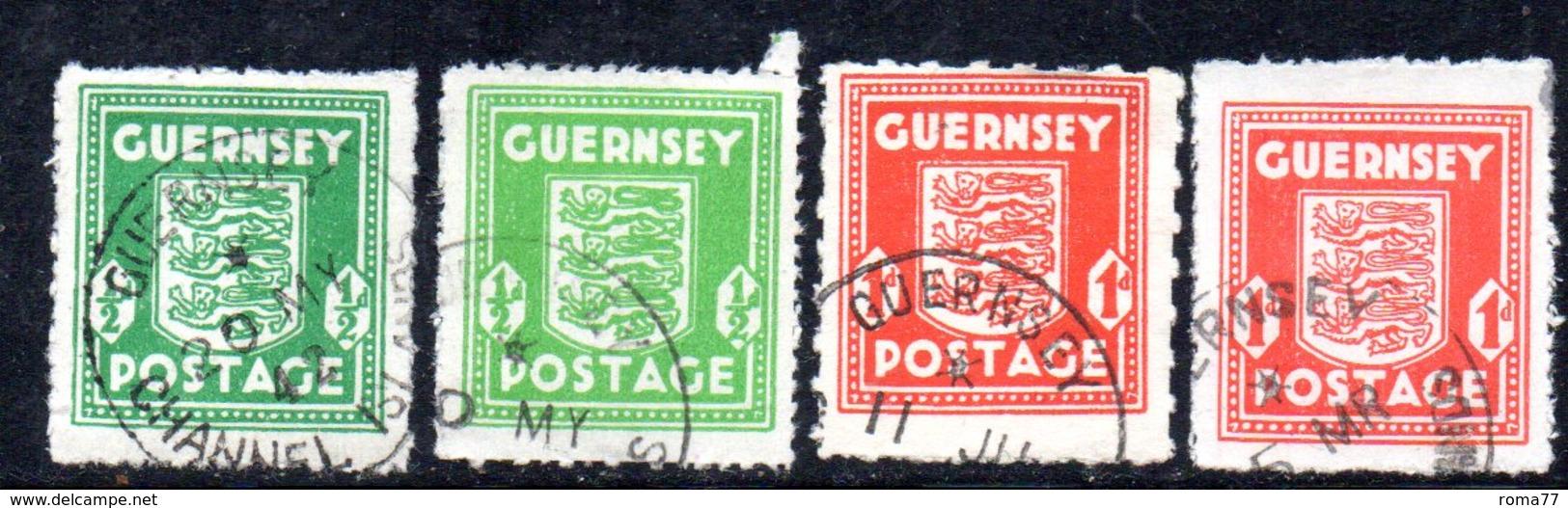 APR173 - GUERNSEY 1941 , Quattro Valori Usati Dell'occupazione Tedesca  (2380A) . - Guernesey