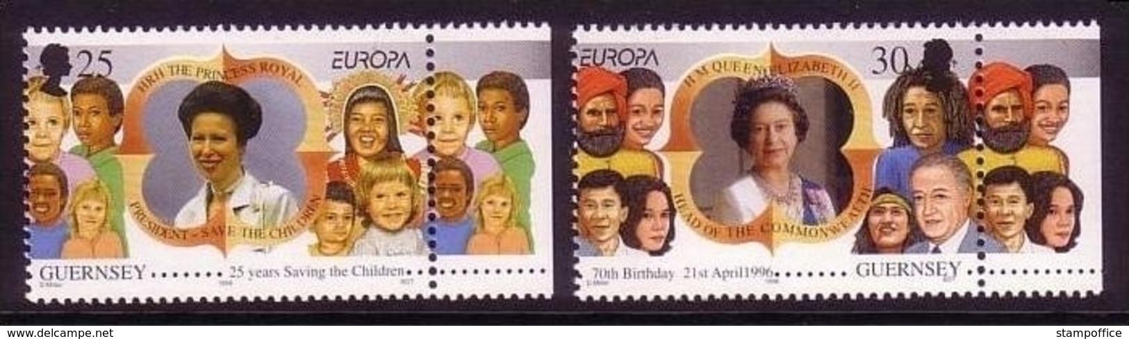 GUERNSEY MI-NR. 691-692 ** ZIERFELD RECHTS EUROPA 1996 - BERÜHMTE FRAUEN - Guernsey