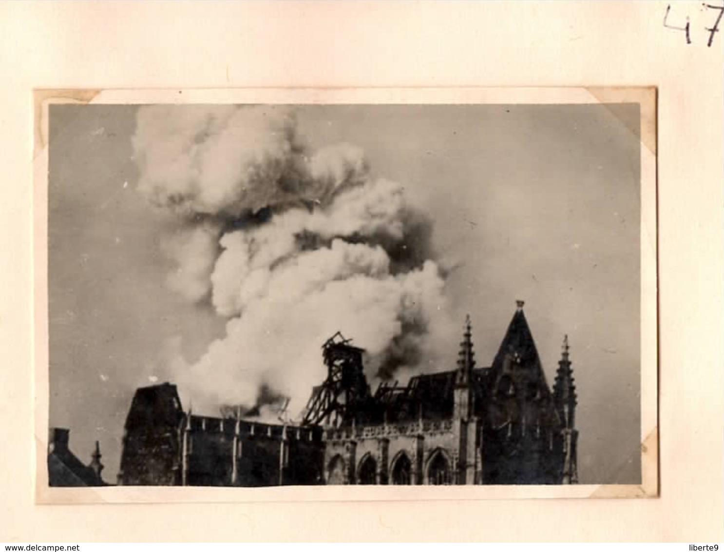 Maartenskerk Brandt 1947 Aalst Alost - Photo C.6x9cm Incendie église St Martin  Belgique - Automobiles