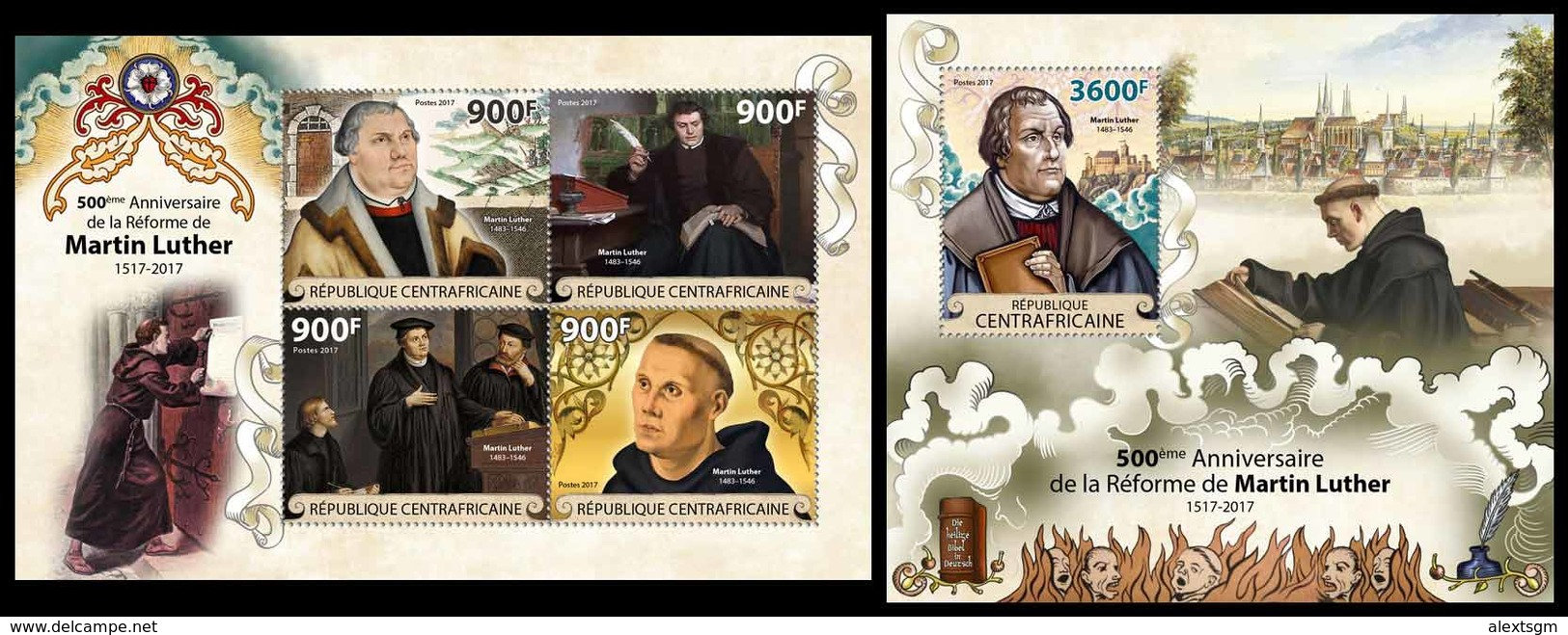 CENTRAL AFRICA 2017 - Reformation, M. Luther - YT 5329-32 + BF1203; CV=40 € - Theologians