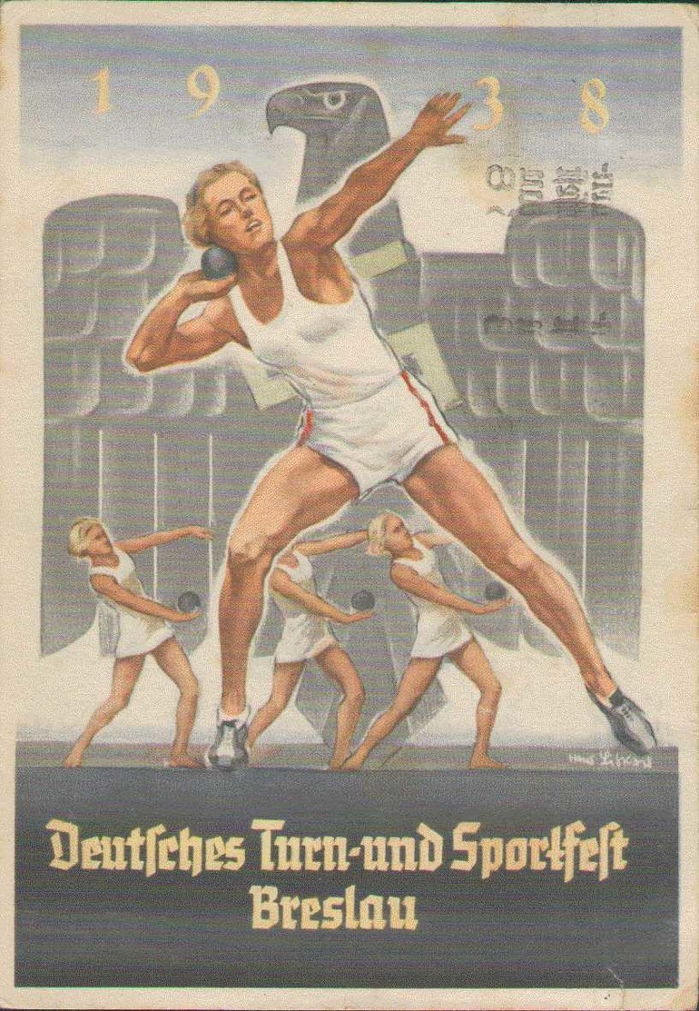 Deutsches Turn-und Sportfest Breslau 1938, Kugelstoßer, Propaganda-Postkarte, Drittes Reich, Militär - Weltkrieg 1939-45