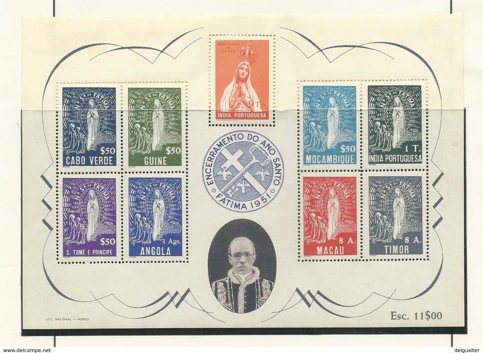 Índia - Block - Encerramento Do Ano Santo - Fátima 1951 - Inde Portugaise