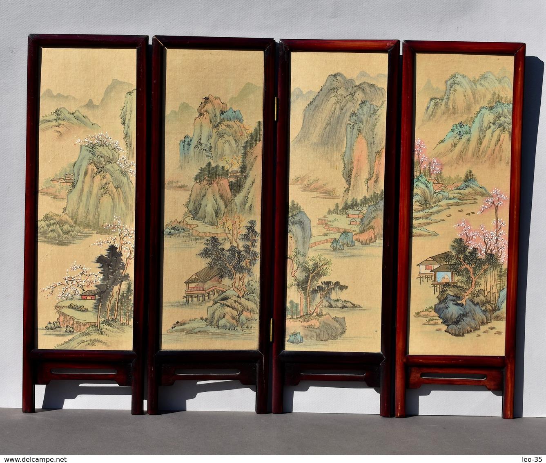 Petit Paravent Décoratif Peinture Sur Soie Chinoise - Décor D'oiseaux Et De Fleurs - Asian Art