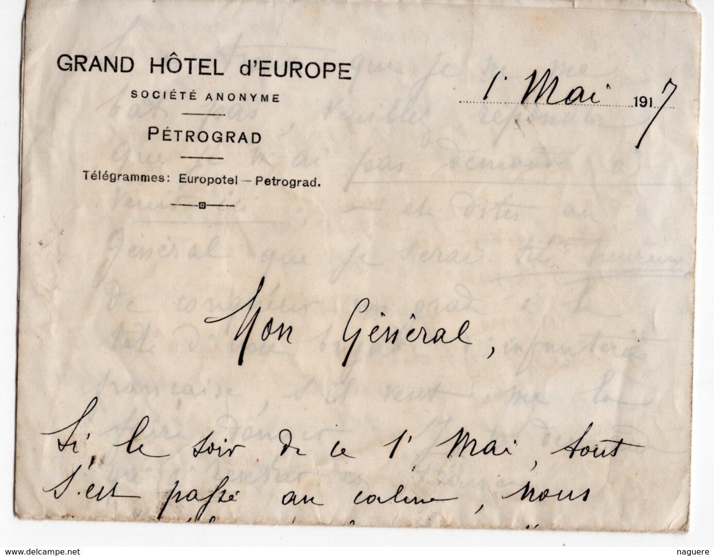 PETROGRAD RUSSIE  GRAND HOTEL D EUROPE LETTRE 1er MAI 1917  POUR UN GENERAL DONT PETAIN  COMPTE RENDU - 1914-18