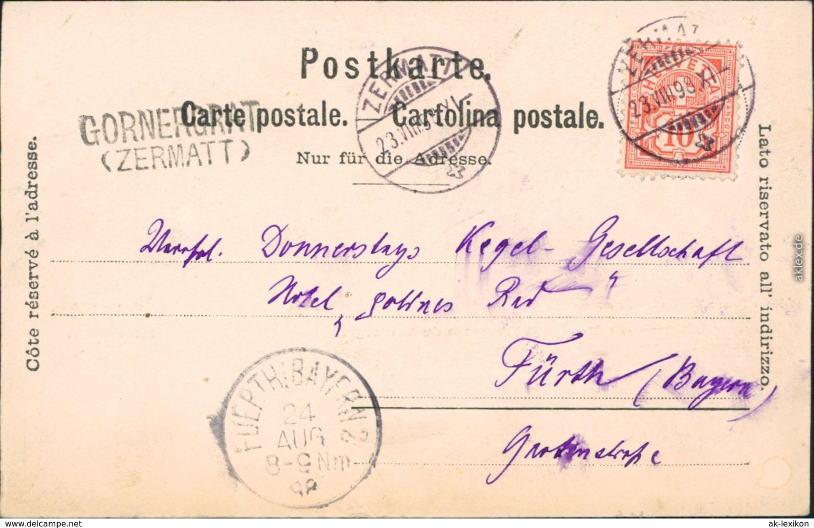 Ansichtskarte Domodossola Monte Rose 1889 - Italy