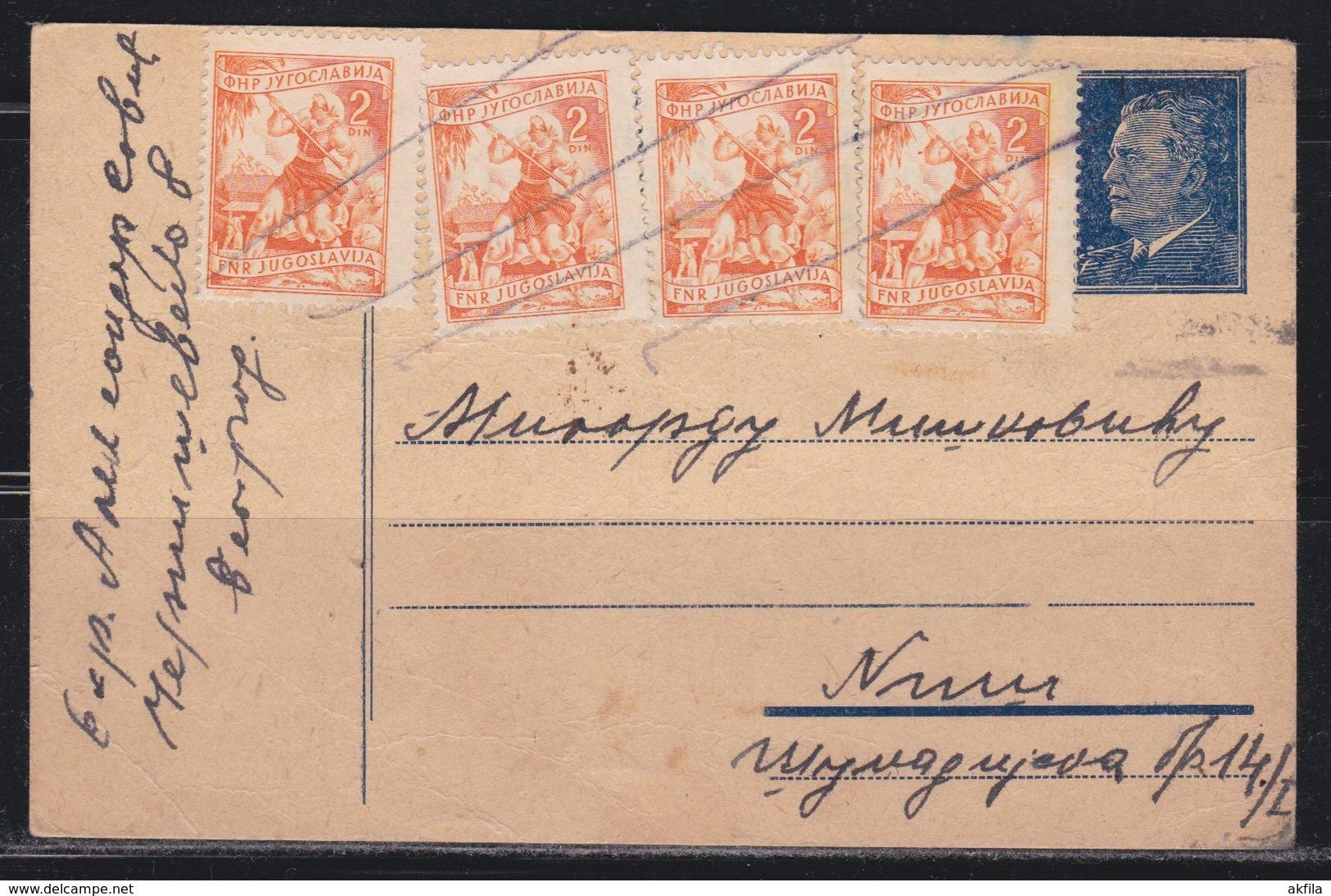 Yugoslavia 1951 Marshal Tito Postal Stationery Beograd-Nis - Ganzsachen
