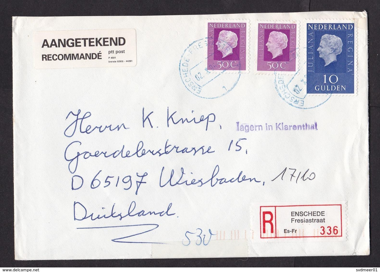 Netherlands: Registered Cover, 1995, 3 Stamps, R-label, Blue Cancel Enschede Fresiastraat, Auxiliary Mark (minor Damage) - Brieven En Documenten