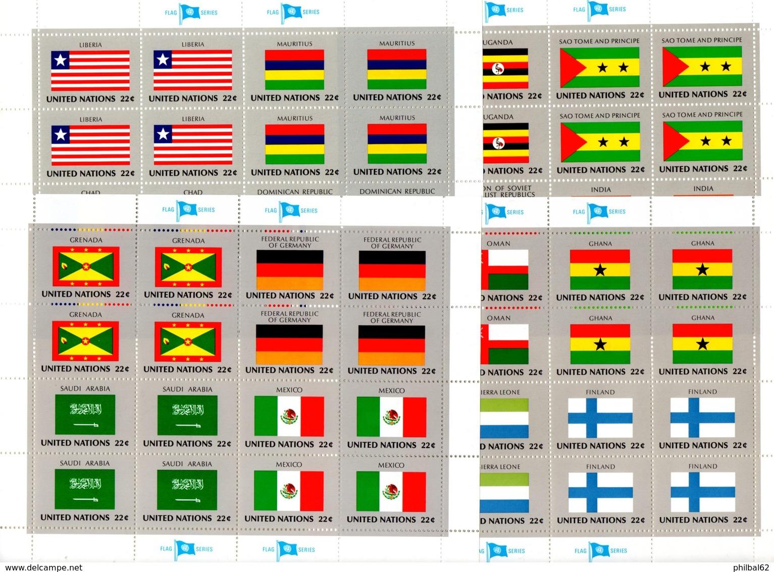 United Nations - Nations-Unies. Flag Series. Les 10 Séries De Drapeaux. 40 Feuillets ** émis De 1980 à 1989. 10 Photos. - UNO