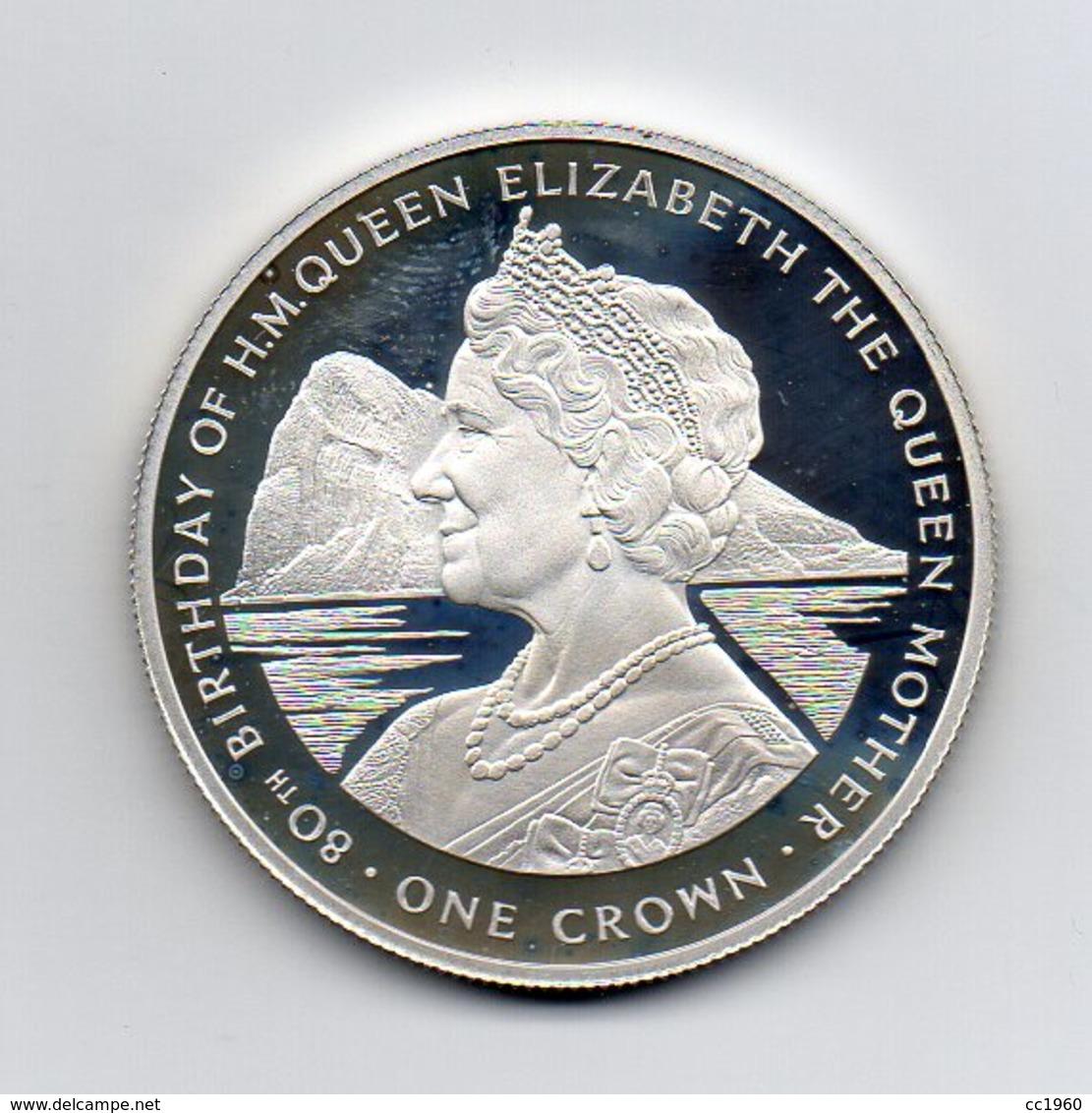 Gibilterra - 1980 - 1 Crown - Proof - 80° Compleanno Della Regina Madre Elisabetta - Argento 925 - (MW2146) - Gibraltar