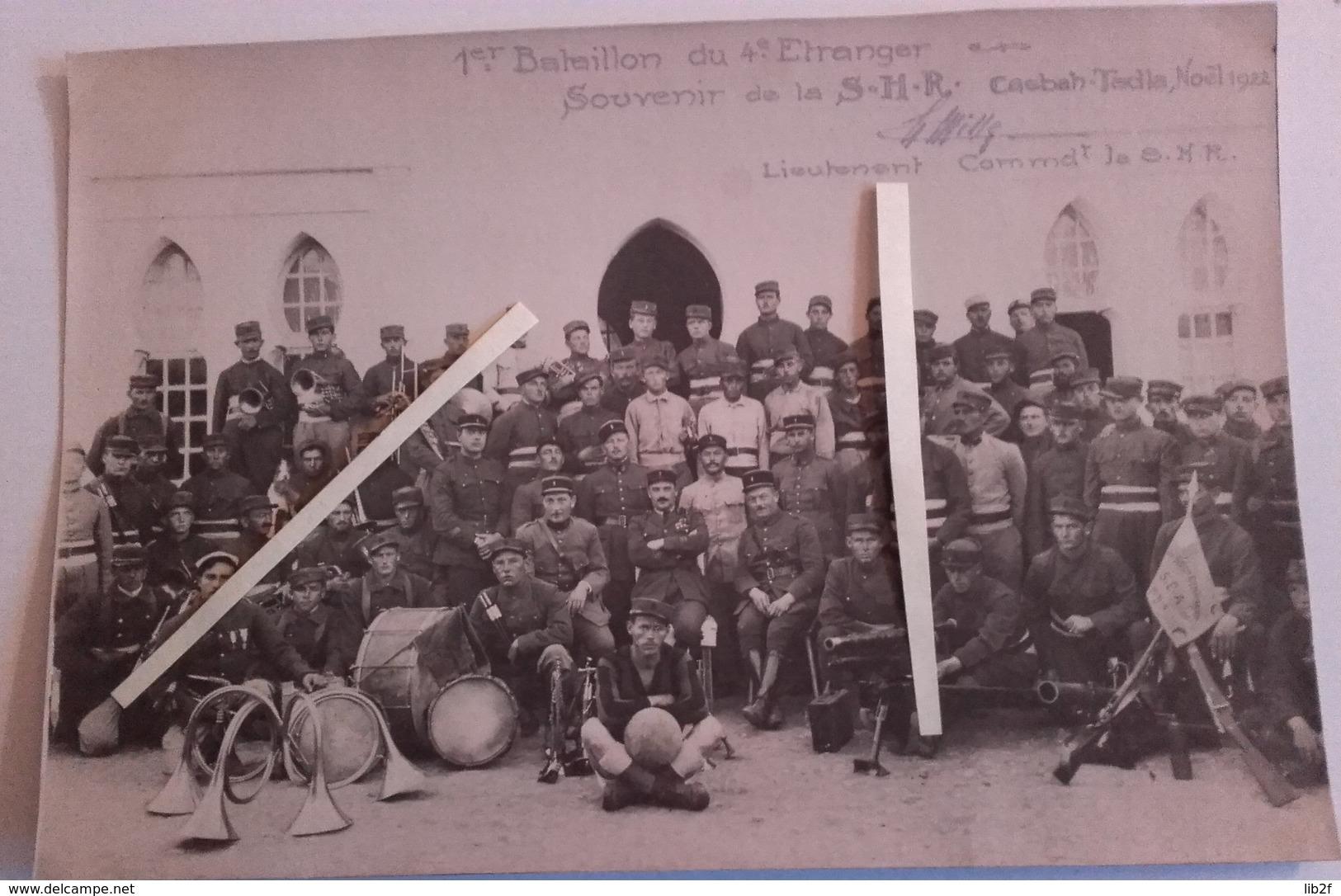 1922 Légion étrangère 4 Eme Régiment 1e Bataillon Shr/sea Tedla Maroc Clique Mortier Jouhandeau Delandre Canon 37 MM - War, Military
