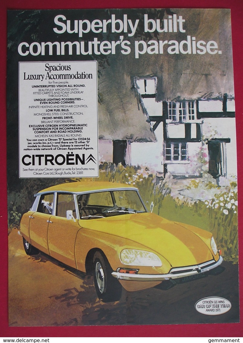 ORIGINAL 1971 MAGAZINE ADVERT FOR CITROEN MOTOR CAR - Advertising