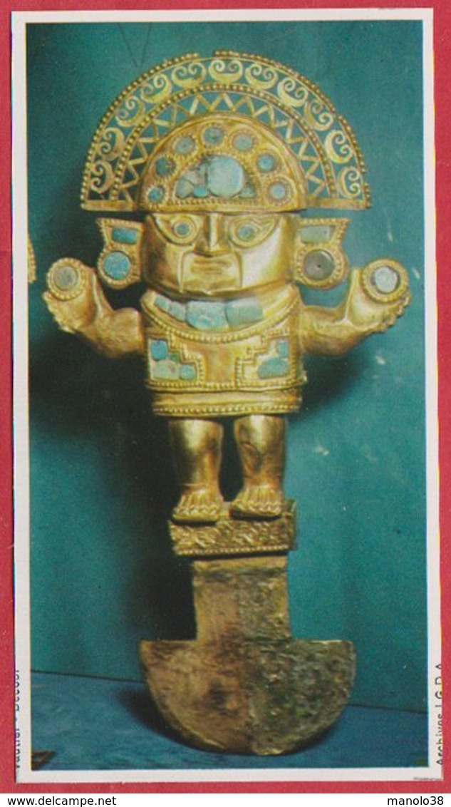 Art Chimu, Couteau Sacrificiel En Or. Pérou. Encyclopédie De 1970. - Vieux Papiers