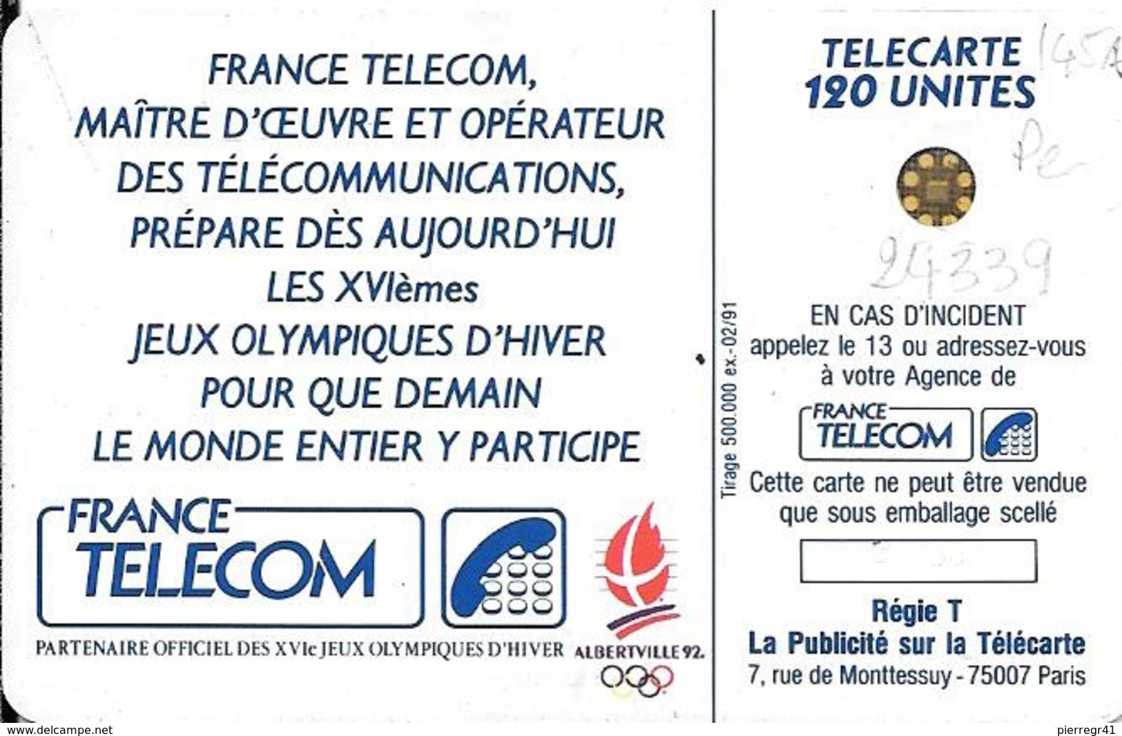 CARTE-PUCE-PUBLIC-F145A-120U-SC4 -Trou 6-02/91-5 Pe 24339-PATINEUSE 1-UTILISE-TBE - France
