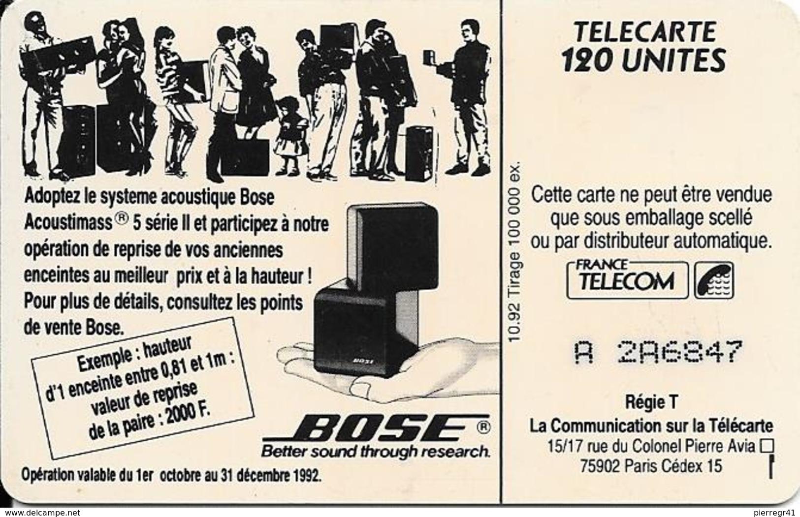 CARTE-PUBLIC-120U-10/92 -F-301-SERIE BOSE-TROMPETTE-2 Droit-N°A 2A6847--UTILISE-TBE- - 1992