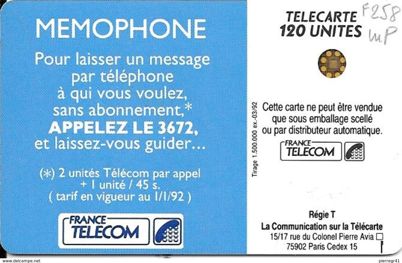 CARTE-120U -F258.522-SC4-Trou-6-03/92-MEMOPHONE-V°5 Impacts 37494-UTILISE-TBE - France