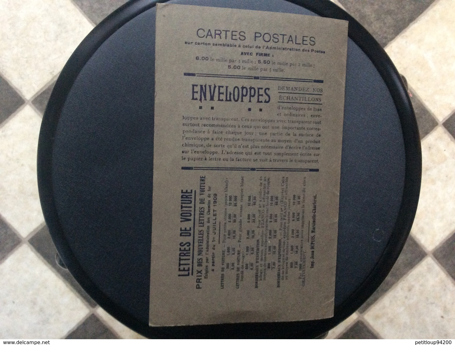 DOCUMENT COMMERCIAL IMPRIMERIE JEAN DUPUIS *Envellopes *Cartes De Visite *Cartes Postales   MARCINELLE-CHARLEROI - Printing & Stationeries