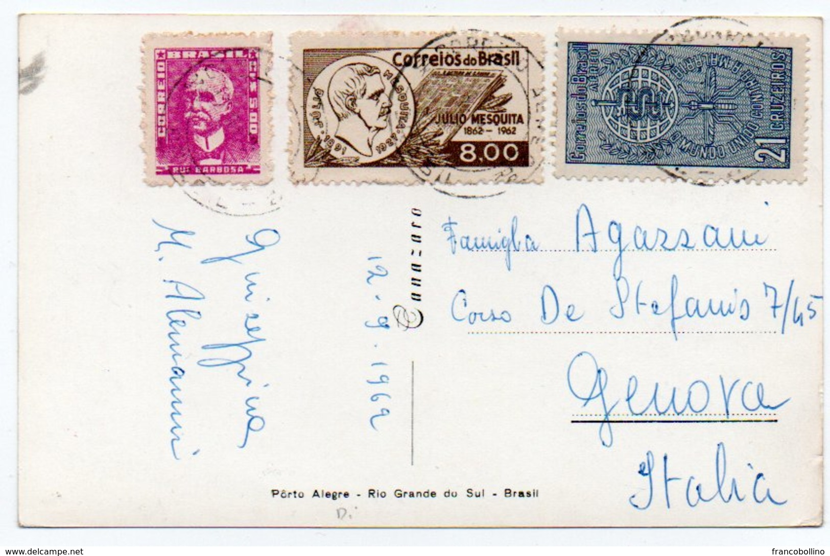 BRASIL/BRESIL/BRAZIL - PORTO ALEGRE-PALACIO DO GOVERNO / THEMATIC STAMPS-MALARIA/PALUDISME - Porto Alegre