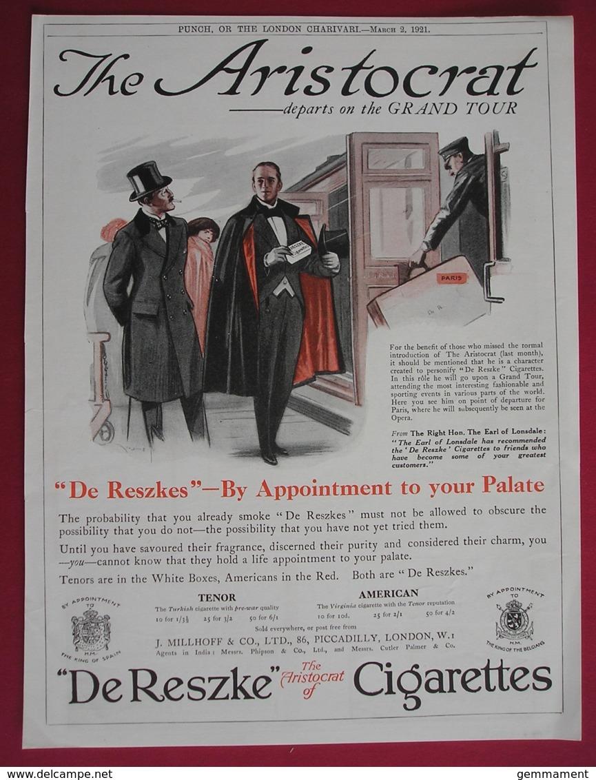 ORIGINAL 1921  MAGAZINE ADVERT FOR  DE RESZKE CIGARETTES - Other