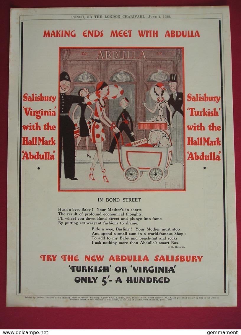 ORIGINAL 1932  MAGAZINE ADVERT FOR ABDULLA CIGARETTES - Advertising