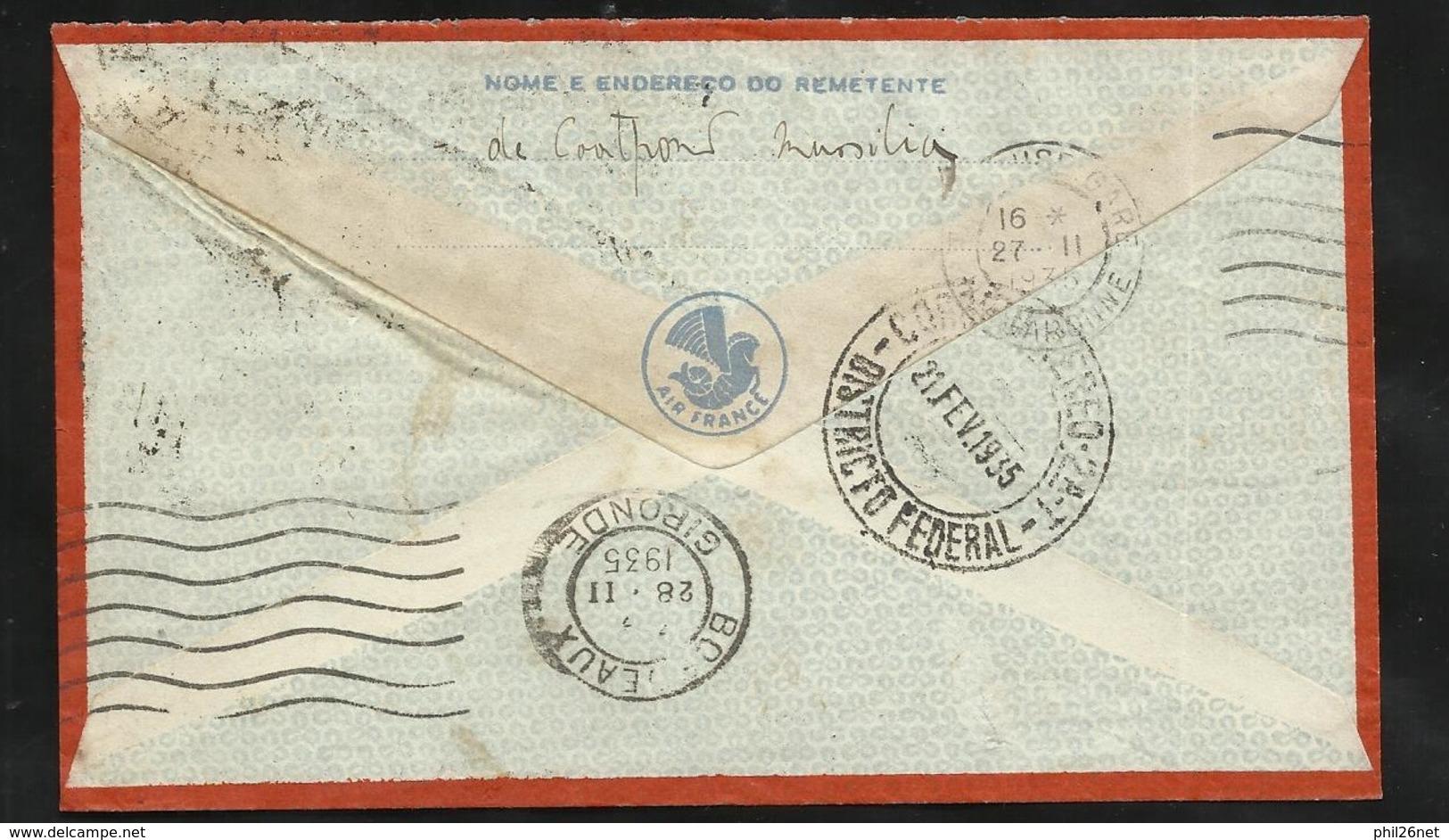 Lettre Avion Air France Praca Maua (Rio) 21/02/1935 N° 261 Et 180x2 à Bordeaux Le 28/02 Via Toulouse Le 27/02/1935 B/ TB - Covers & Documents