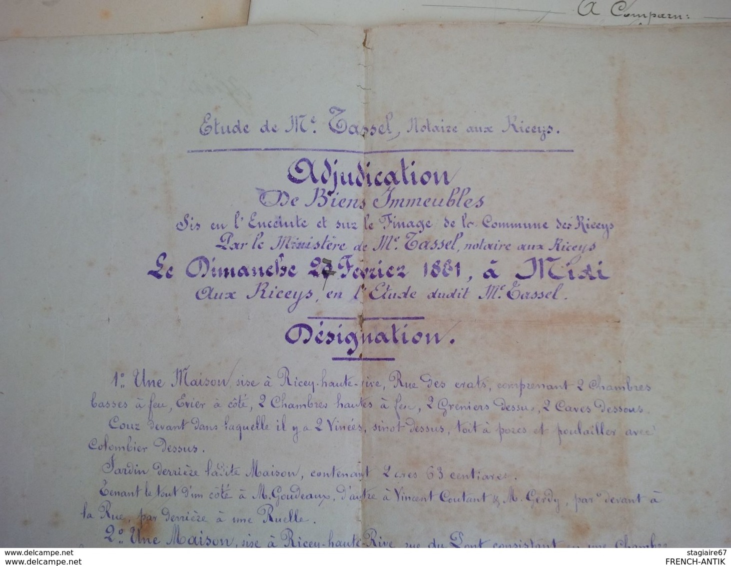 LES RICEYS AUBE ADJUDICATION MAISON FAMILLE GERARD TRANCHANT ADJUGE A EMILE FARINET MILLOT VIGNERON AUX RICEYS 1881 - Old Paper