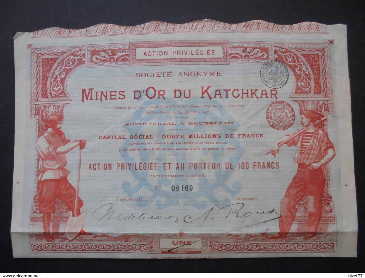 RUSSIE - MINES D'OR DU KATCHAR - ACTION PRIVILEGIEE DE 100 FRS - BRUXELLES 1897 - Actions & Titres