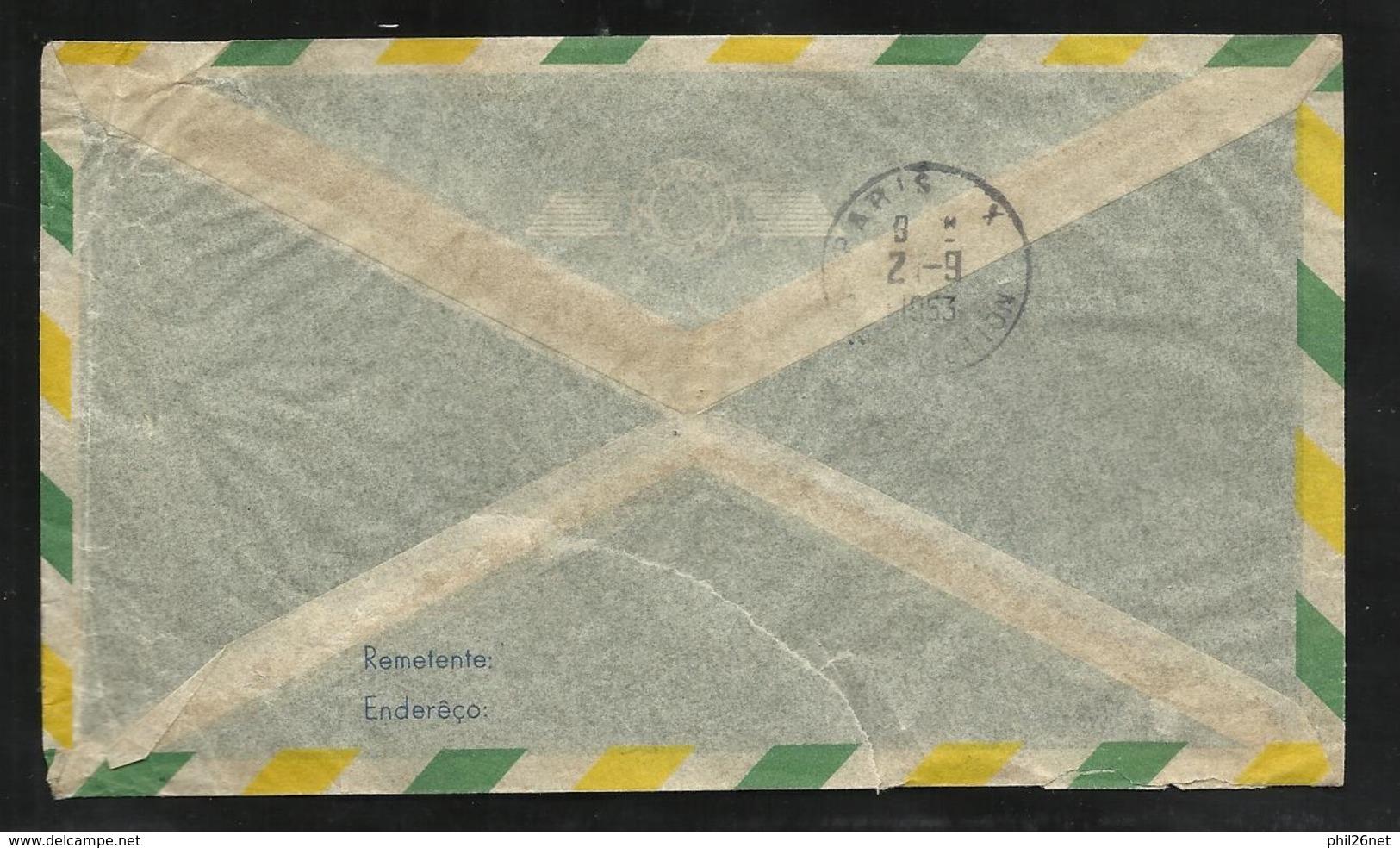 Lettre Avion Henriques Et Cie Rio  Le 29/08/1953  N°247 & 393 + Vignette St Vincent De Paul à Mareuil Le 2/9/1953   B/TB - Brésil