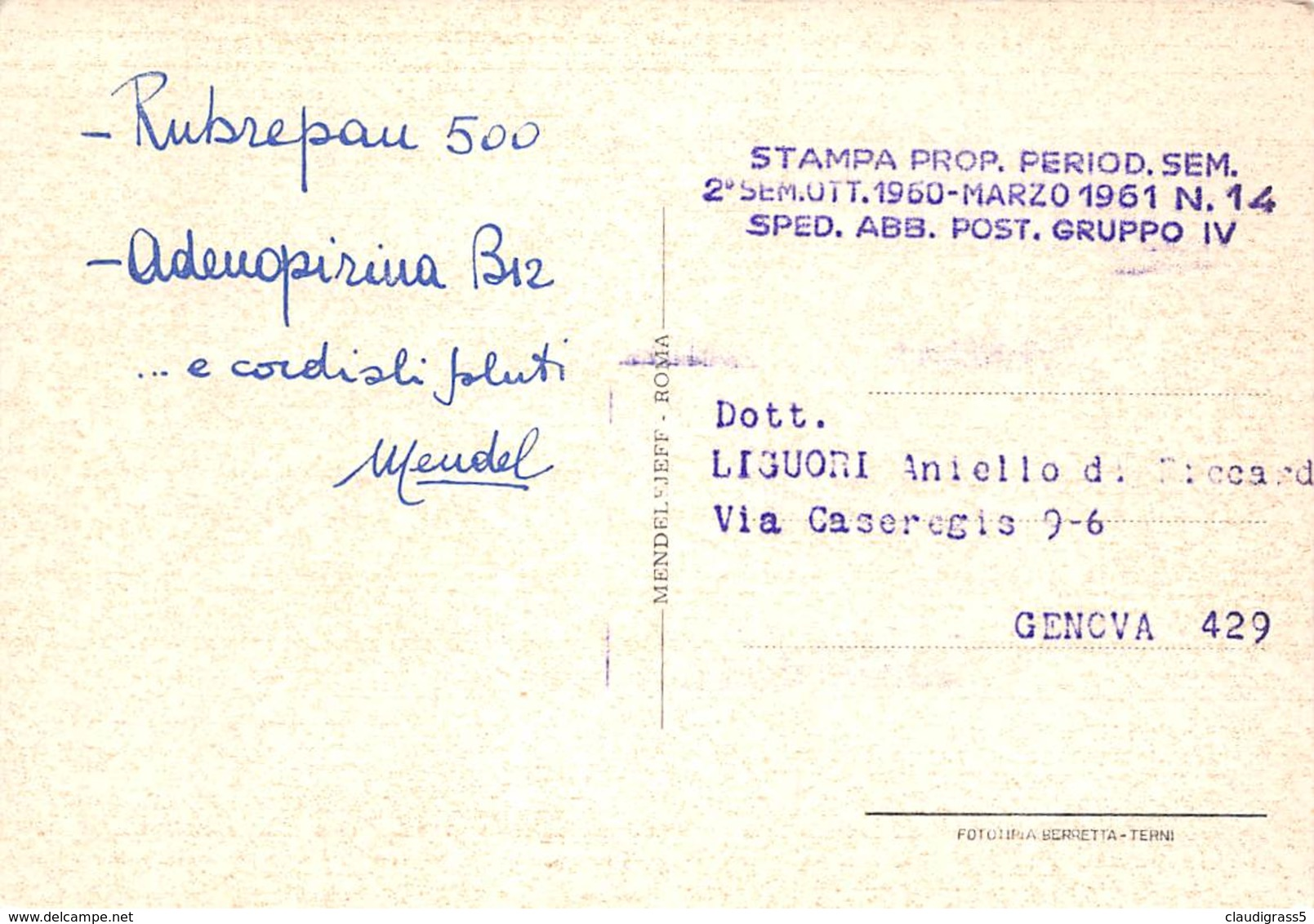 """0371 """"GENOVA - LA LANTERNA E LO SVINCOLO DELLA CAMIONALE"""" PUBBLICITA' MEDICINALI. CART. ORIG. SPED. 1960/1961 - Genova"""