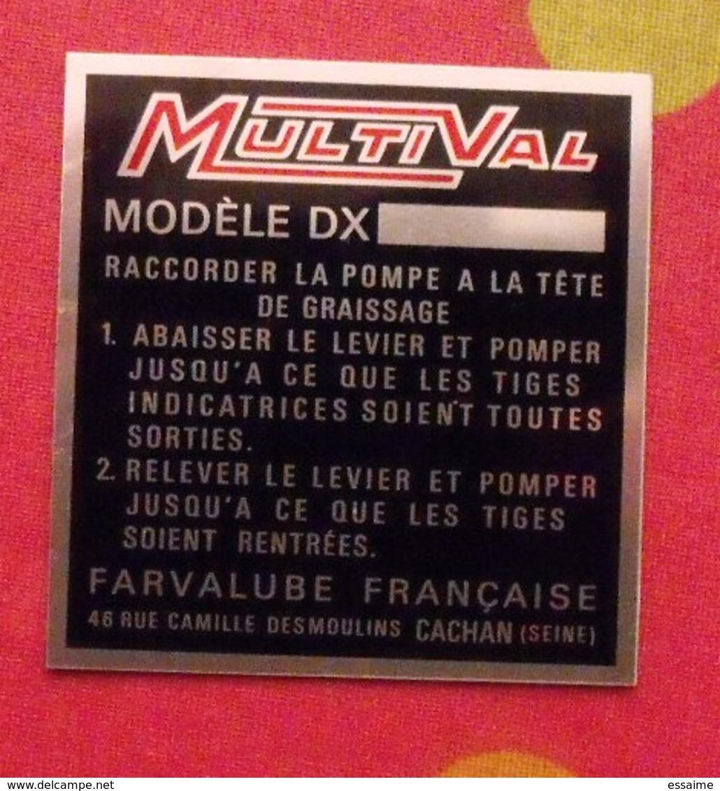 Plaque Métal Publicitaire MultiVal. Farvalube Française. Cachan. Autocollant. Vers 1970 - Plaques Publicitaires