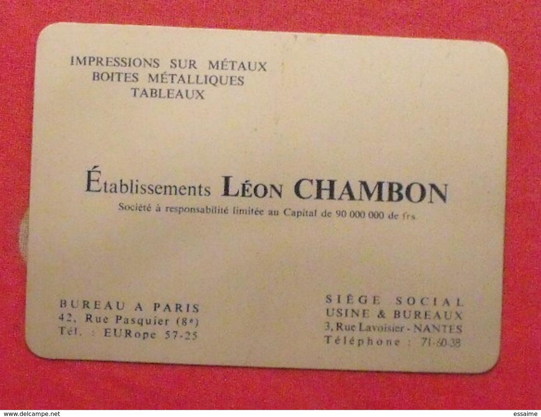 Plaque Métal Publicitaire Calendrier 1960. établissements Léon Chambon. Impression Sur Métaux. - Plaques Publicitaires