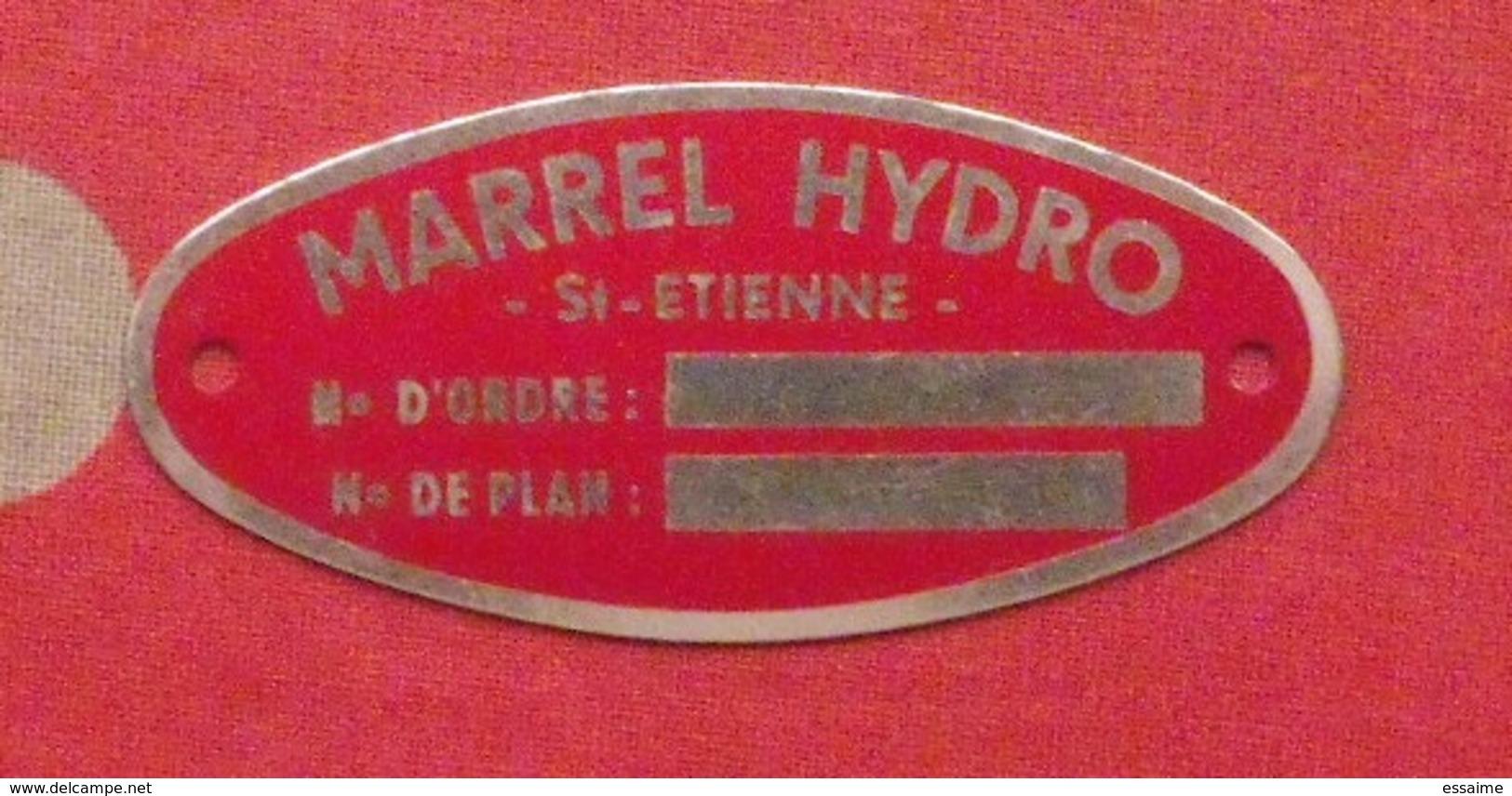 Plaque Métal Publicitaire Marrel Hydro. Vers 1960 - Plaques Publicitaires