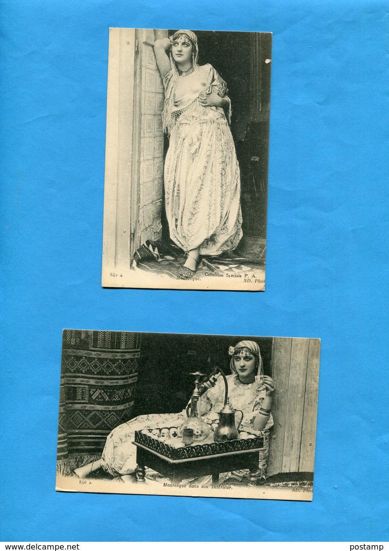 2 Cartes*Mauresque Seins Nus-pas De Porte -et En Intérieur-certainement Fille De Joie-a Voyagé Années 20- - Afrique Du Nord (Maghreb)