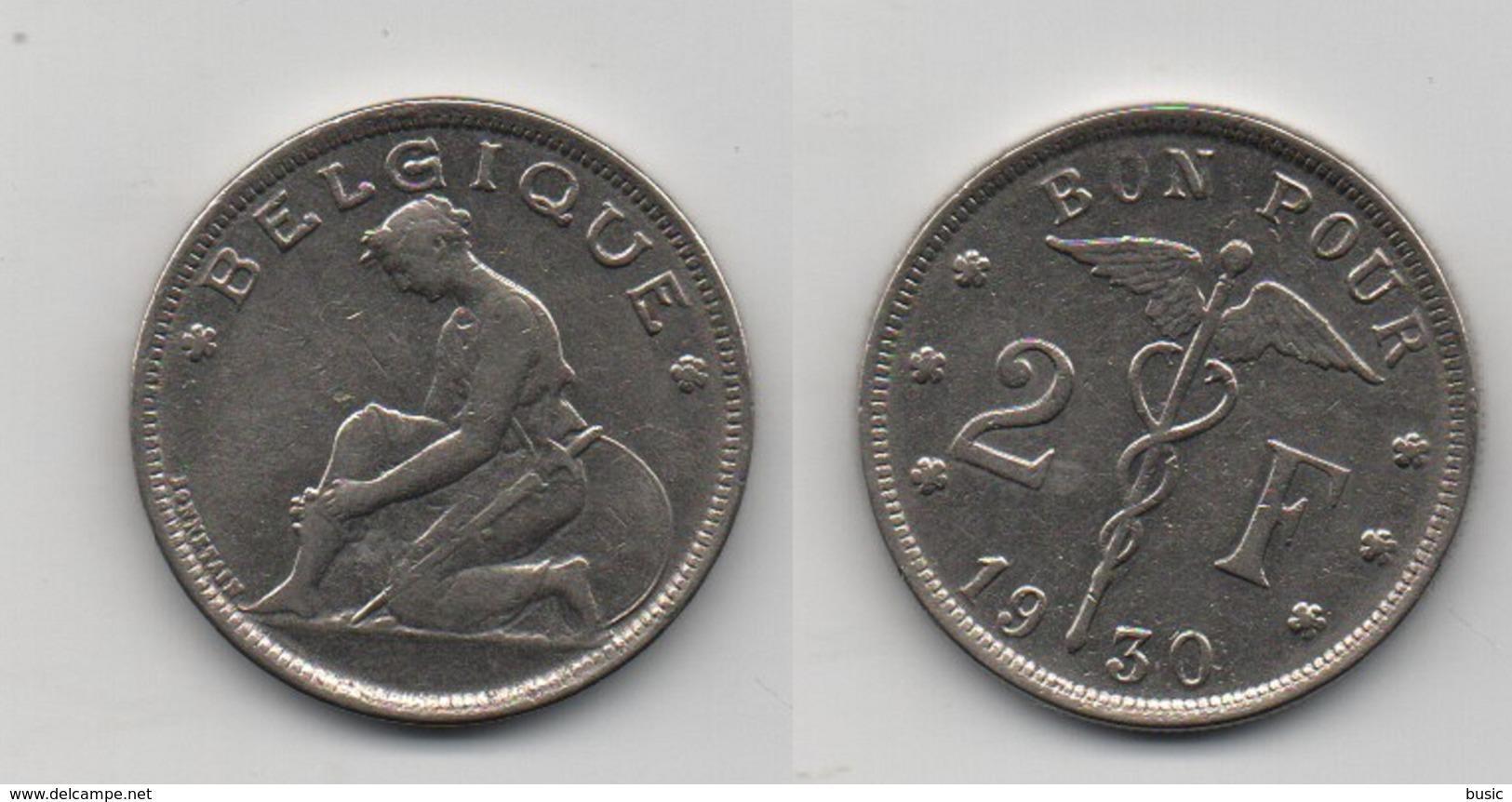 + BELGIQUE + 2 FRANCS 1930. +  TRES BELLE + - 1909-1934: Albert I