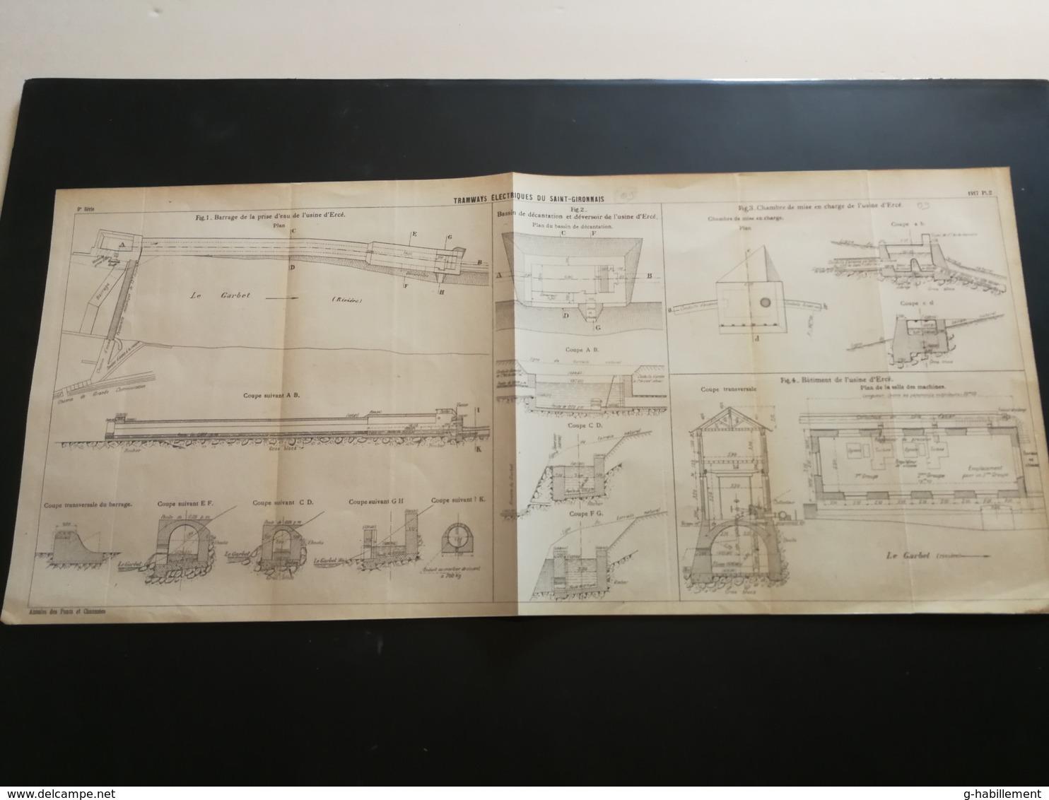 ANNALES Des PONTS Et CHAUSSEES (Dep 09) - Plan Des Tramways éléctriques Du St-Gironnais  - 1917 (CLA10) - Machines
