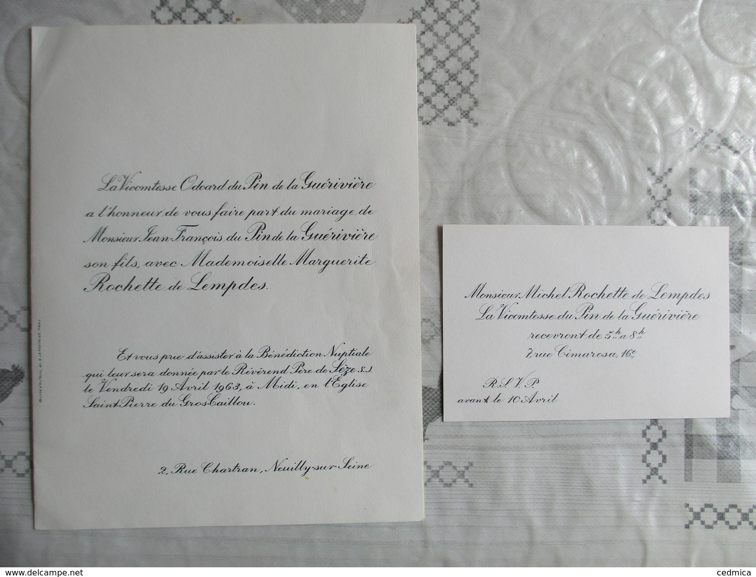 EGLISE SAINT PIERRE DU GROS-CAILLOU LE 19 AVRIL 1963 JEAN FRANCOIS DU PIN DE LA GUERIVIERE ET MARGUERITE ROCHETTE DELEMP - Mariage