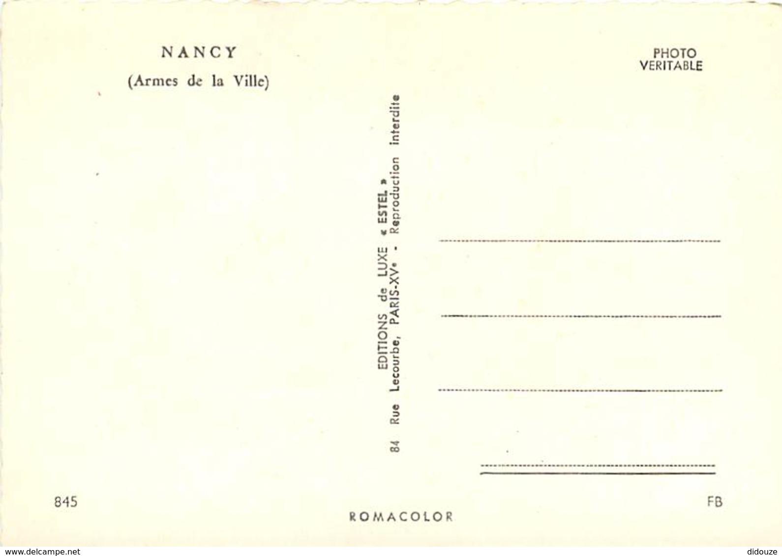 54 - Nancy - Armes De La Ville De Nancy - Blasons - Carte Neuve - Voir Scans Recto-Verso - Nancy