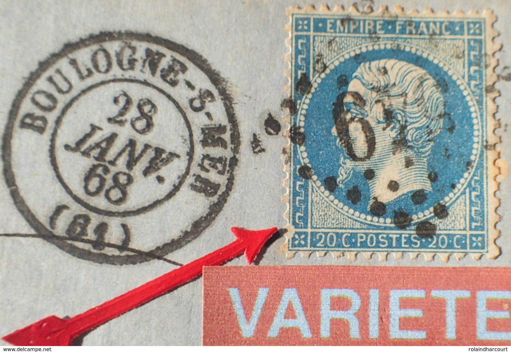 R1917/128 - NAPOLEON III N°22 Sur ✉️ BOULOGNE / MER (Pas De Calais) à ST QUENTIN (Aisne) VARIETE 39 ➤➤➤ Encoche Au S/O - 1862 Napoleon III