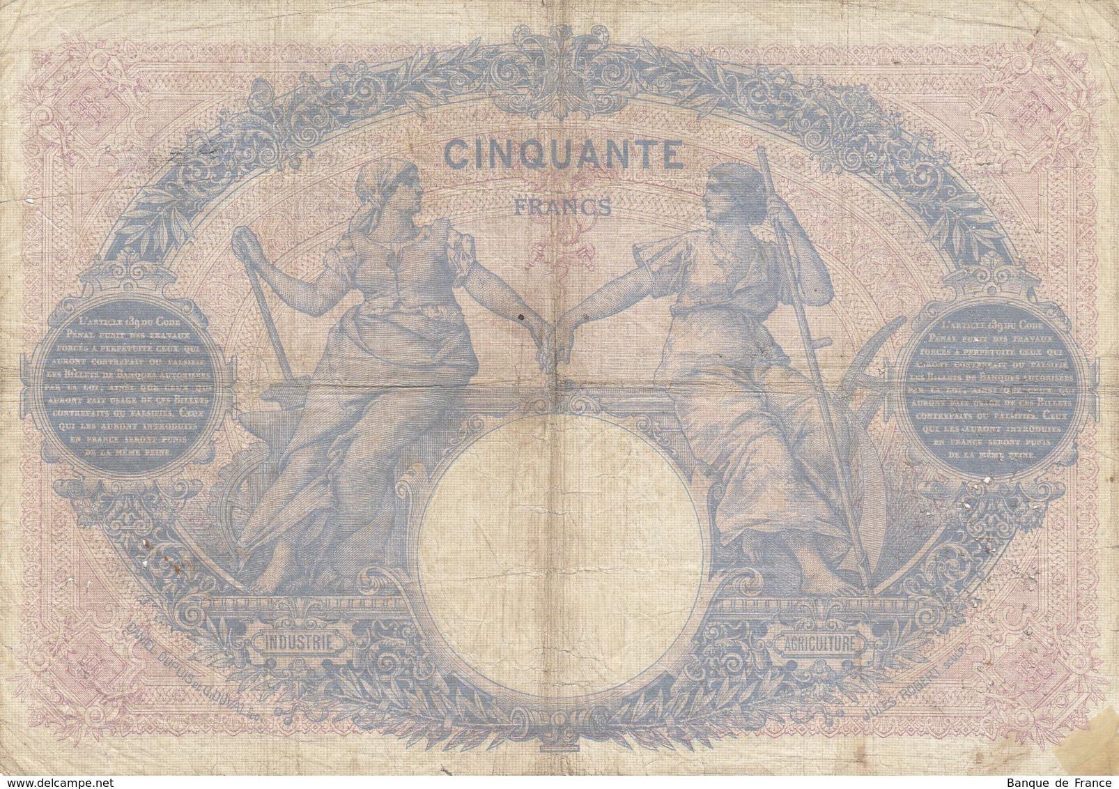 Billet 50 F Bleu Et Rose Du 21-11-1913 FAY 14.26 Alph. W.4941 - 1871-1952 Anciens Francs Circulés Au XXème