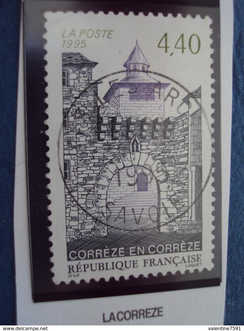 """90-99  -timbre Oblitéré N°  2957  """" La Corrèze      """"      0.80 - France"""