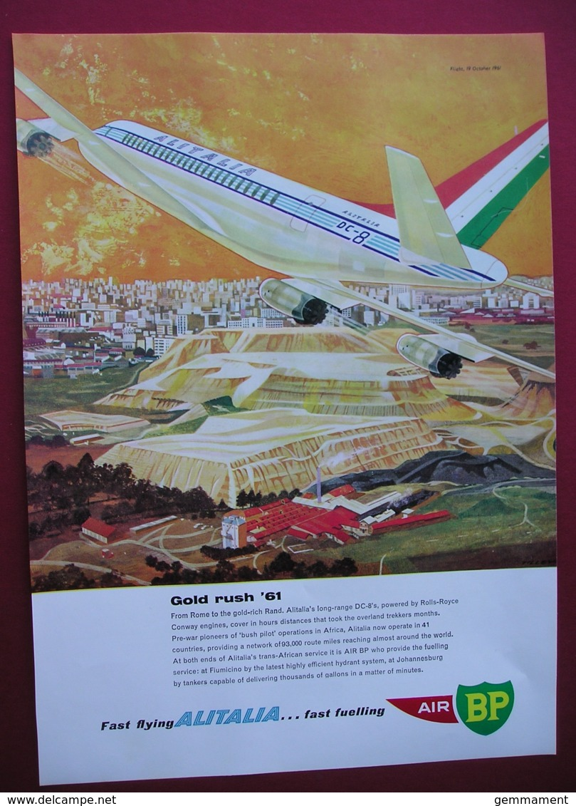 ORIGINAL 1961 MAGAZINE ADVERT FOR AIR/BP/ ALITALIA AIR LINE - Other
