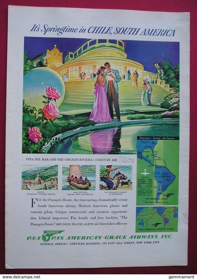 ORIGINAL 1940  MAGAZINE ADVERT FOR PAN AMETRICAN-GRACE AIRWAYS  INC - Advertising