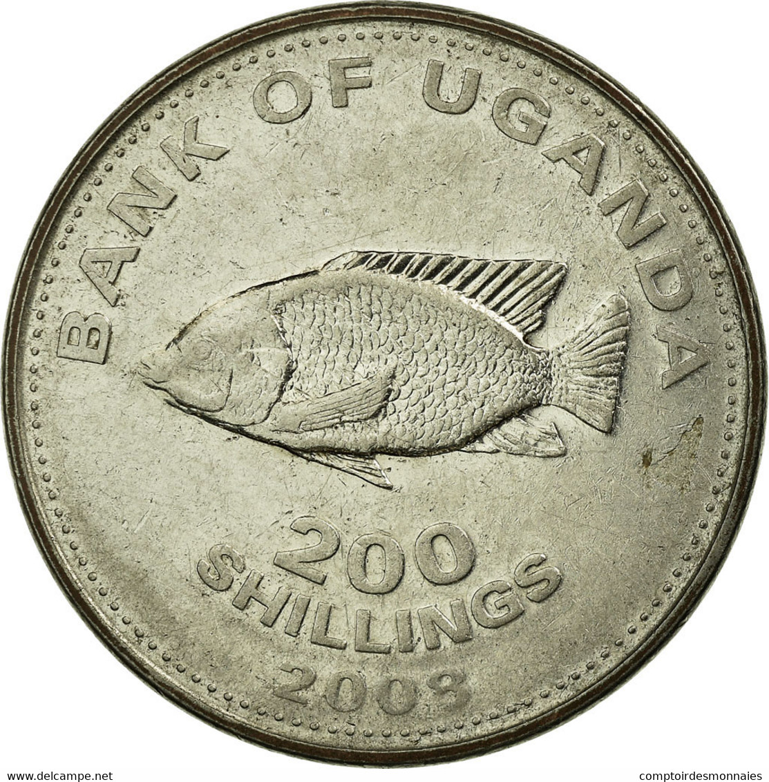 Monnaie, Uganda, 200 Shillings, 2008, TB+, Nickel Plated Steel, KM:68a - Ouganda