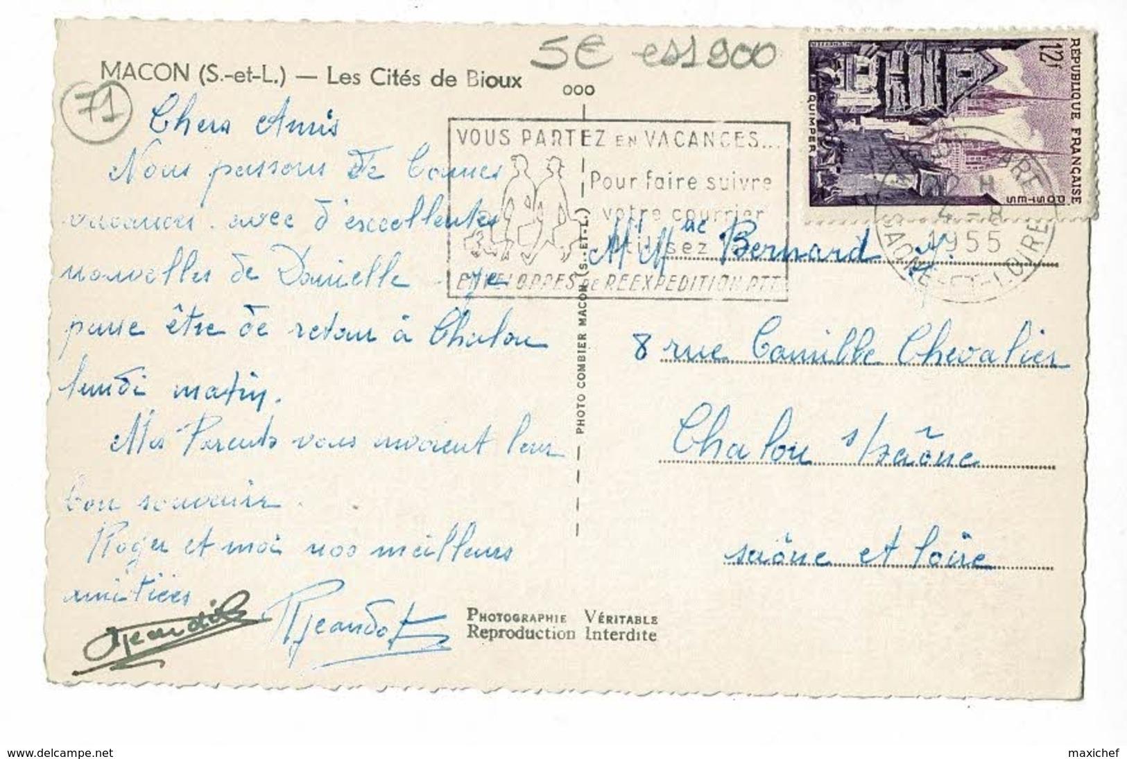 Mâcon - Les Cités De Bioux (immeubles) Circulé 1955 - Macon