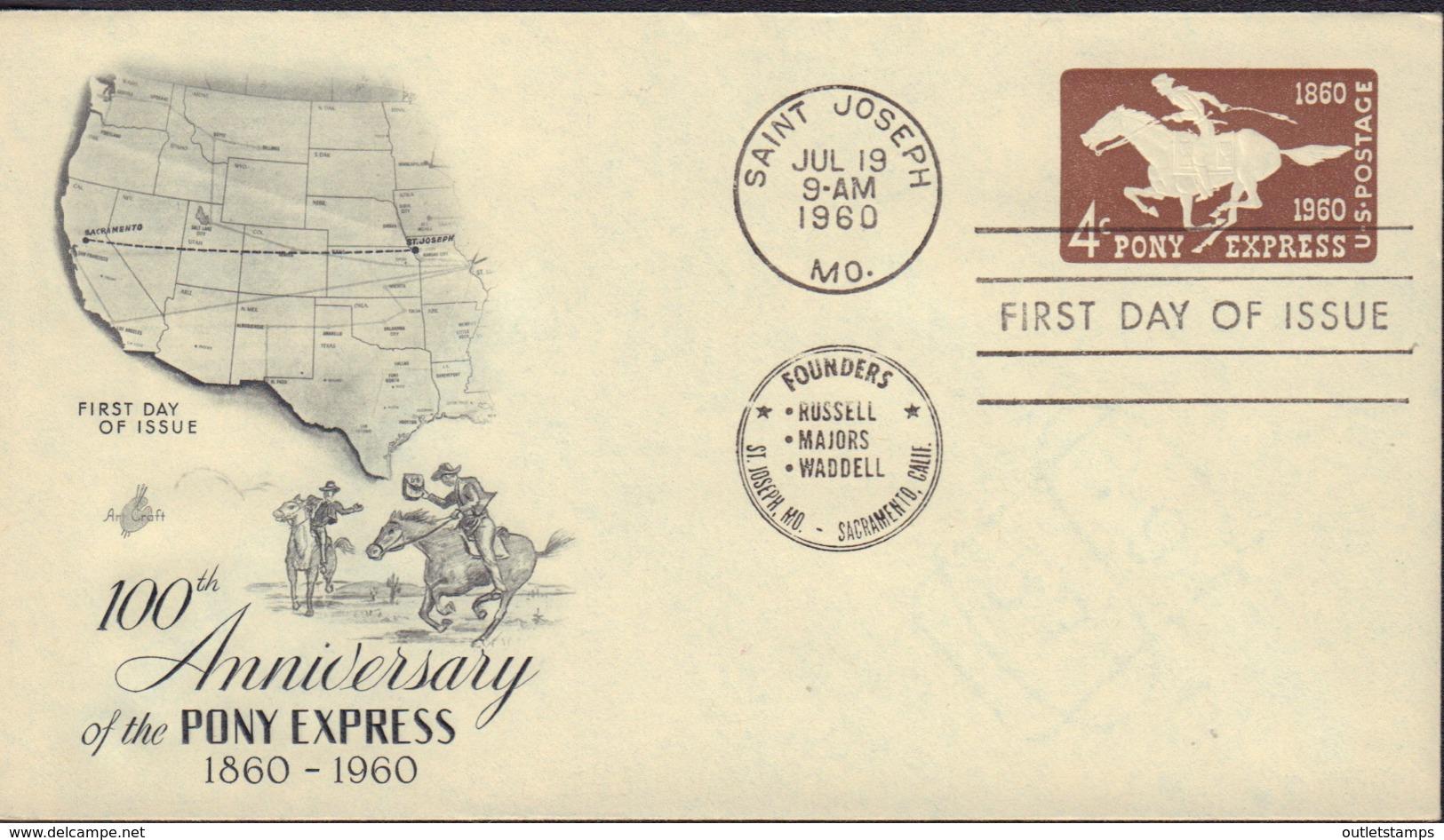 Ref. 577536 * NEW *  - UNITED STATES . 1960. 100 ANIVERSARIO DEL PONY EXPRES - Stati Uniti