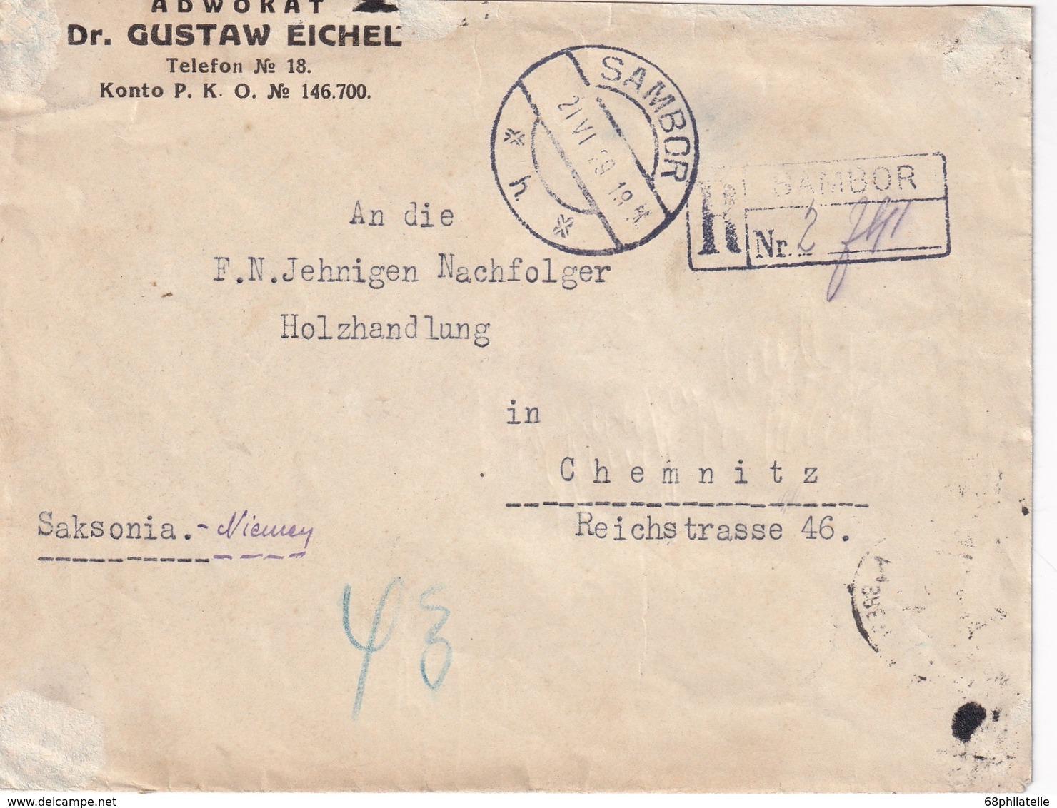 POLOGNE 1929 LETTRE RECOMMANDEE DE SAMBOR AVEC CACHET ARRIVEE CHEMNITZ - 1919-1939 Republic