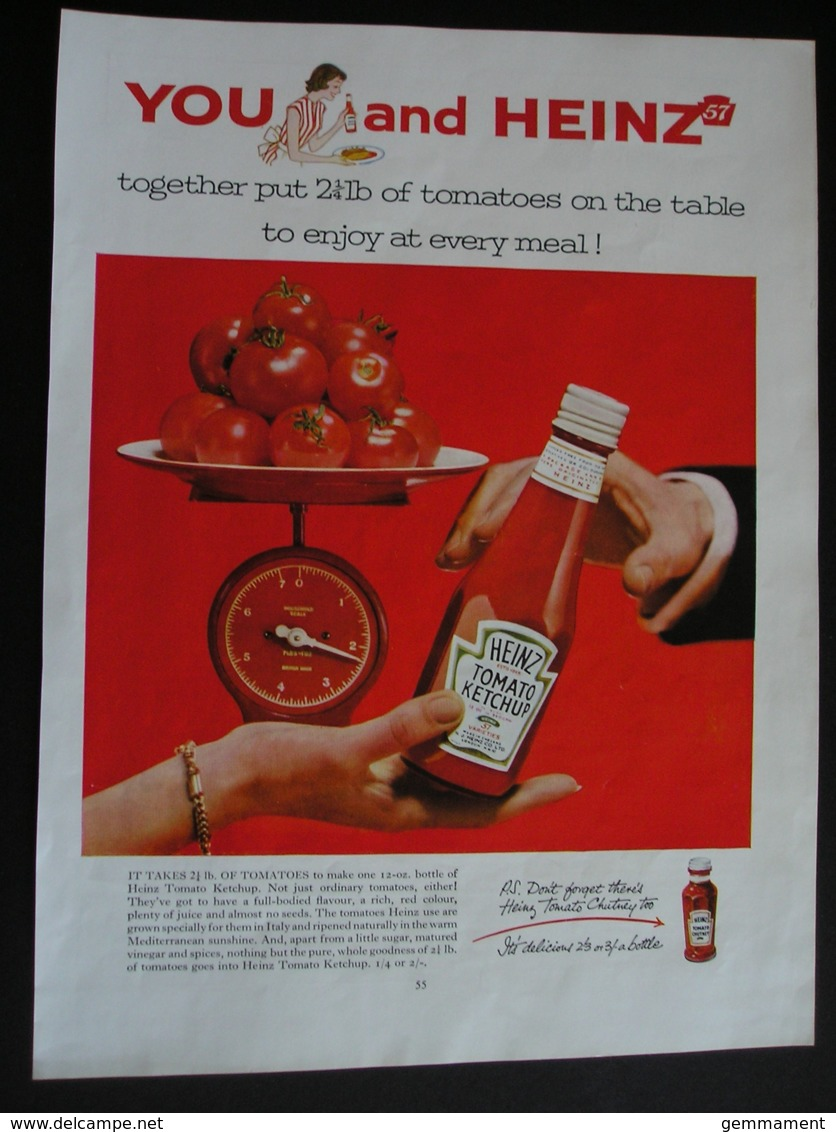ORIGINAL UNDATED  MAGAZINE ADVERT FOR HEINZ TOMATO KETCHUP - Advertising